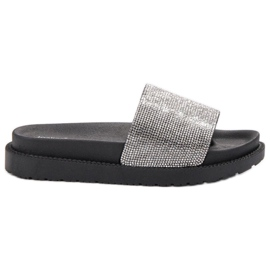 SHELOVET black Slippers With crystals