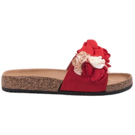SHELOVET red Slippers With Flowers