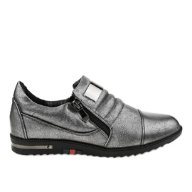 Grey Gray shoes with zipper H034