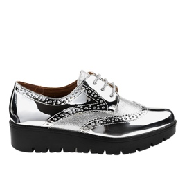 Silver lace-up shoes TL-60 grey