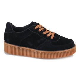 Black lace-up creepers 7-K3568A