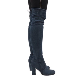 Blue jeans boots with rips BH71-HB
