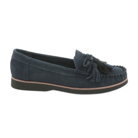 Filippo Leather Loafers With Fringes navy