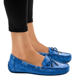 Blue loafers ballerinas with a bow F03-3