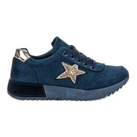 SHELOVET blue Navy Suede Sneakers