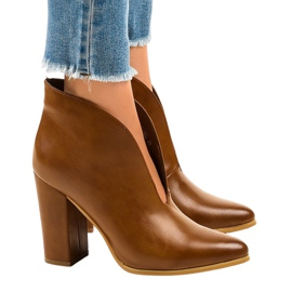 Brown Camel slip-on boots with cut-outs on the RB38P post