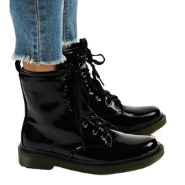 Black patent leather boots SD708