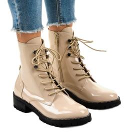 Beige women's high boots XW37278 brown