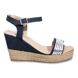 Navy Black sandals on the delicate wedge Glam Shine