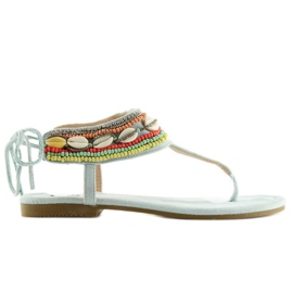 Sandals with beads blue 8241 L.BLUE II-GAT