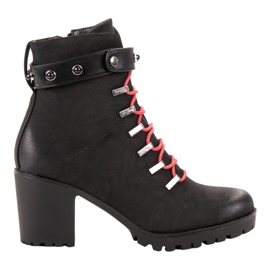 Vinceza black Fashionable Lace-up Workers
