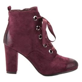 Vinceza Burgundy Suede Booties red