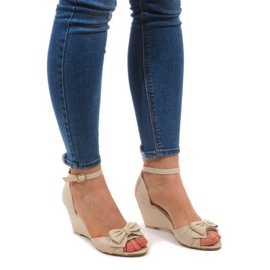 Brown Wedge Sandals F1-43 Beige