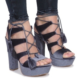 Grey Gray sandals on a post made of One Love velor