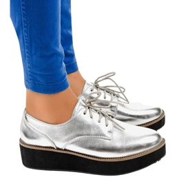 Silver elegant lace-up shoes 2017-1 grey