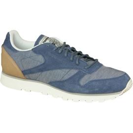 Blue Reebok Cl Leather Fleck M AQ9722 shoes