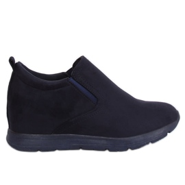 Shoes on a hidden navy wedge ZY-7K67 Blue