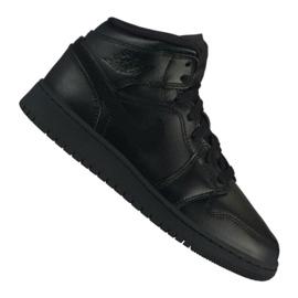 Black Nike Air Jordan 1 Mid Gs Jr 554725-090 shoes