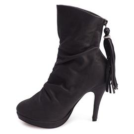 High Boots On A Heel 1020 Gray grey