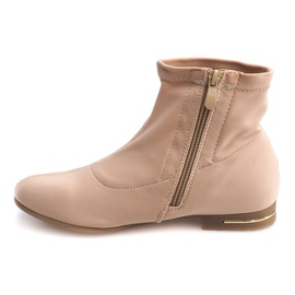 Brown Elegant Fabric Ankle Boots R105 Beige