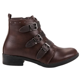 Small Swan Boots With Decorative Stripes brown