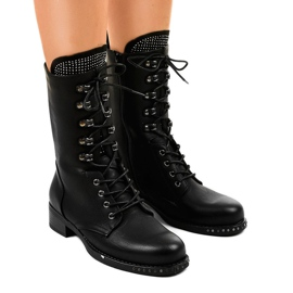 Mulanka Black Worker boots with sequins A-307