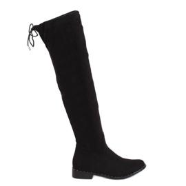 Black suede boots QT04P Black