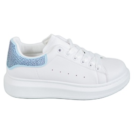 Yes Mile white Sport Shoes With Crystals