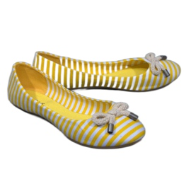 Striped Ballerinas With 16-C Yellow Bow
