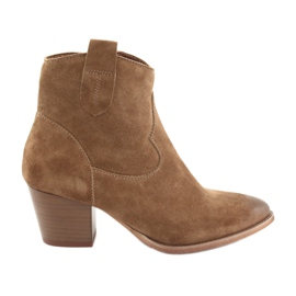 Anabelle 1466 Camel suede cowboy boots brown