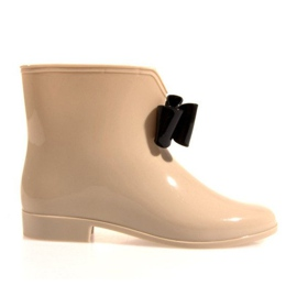 Brown YELLOW BOOTS With Bow Y014 Beige