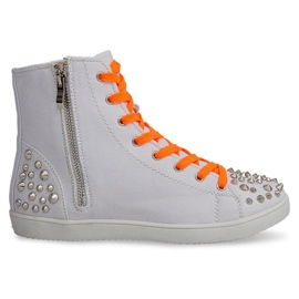 High Sneakers With Studs 6563 White