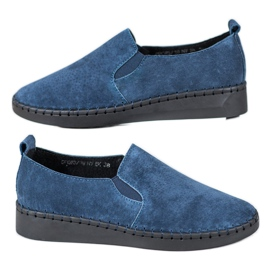 Filippo Leather Sneakers Slip On blue