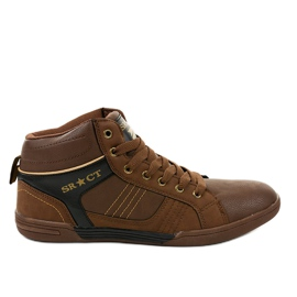 Brown men's lace-up sneakers 15M749