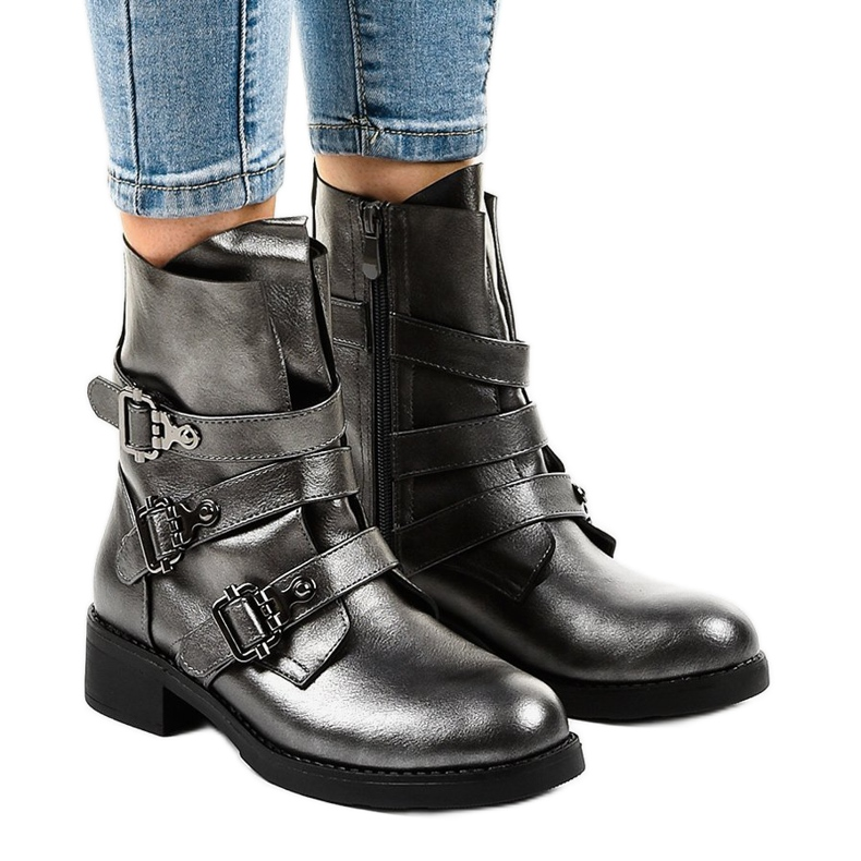 Gray women's boots with HQ1588 buckles grey