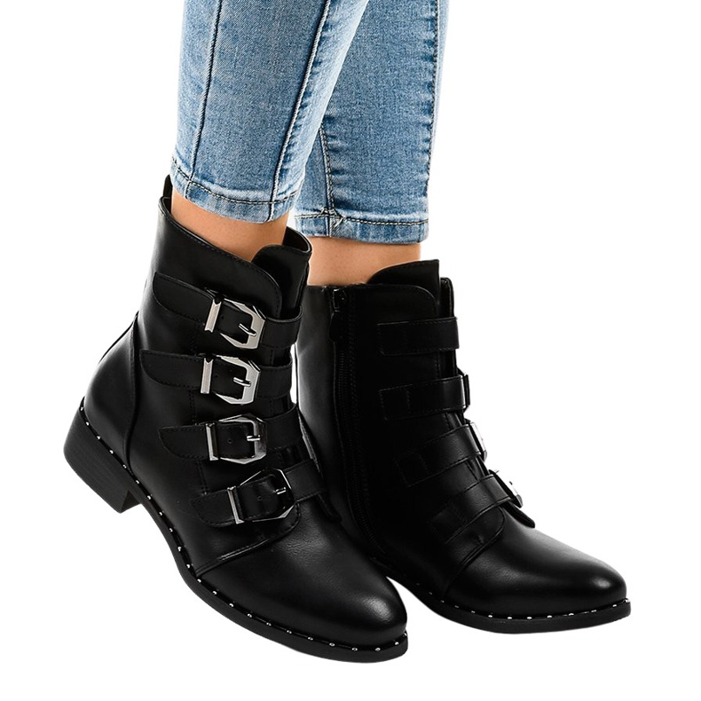 Black women's boots with S120 buckles
