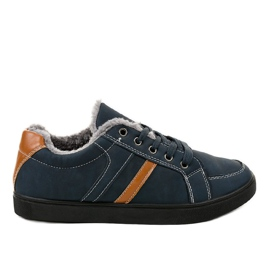 Navy Dark blue men's sneakers with fur E756M-2