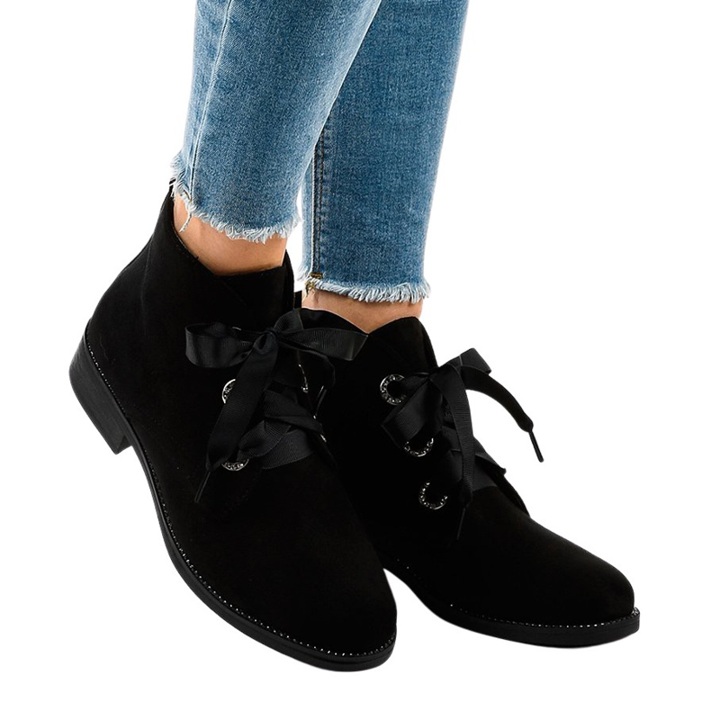 Black suede lace-up boots K123