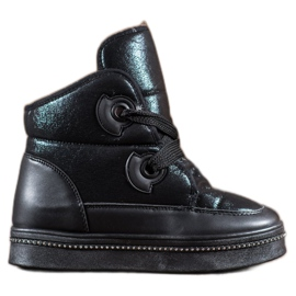 RTX WALK black Snow Boots With Crystals