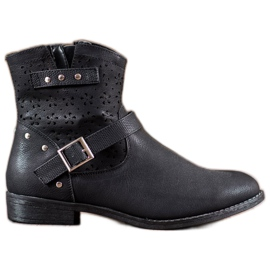 Groto Gogo black Openwork Boots With A Buckle