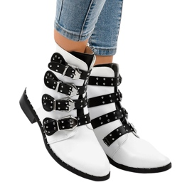 White women's boots with A-167 buckles