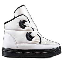 RTX WALK white Snow Boots With Crystals