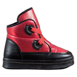 RTX WALK red Snow Boots With Crystals