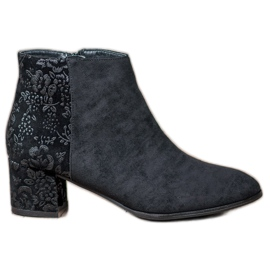 Filippo black Suede Boots With Flowers