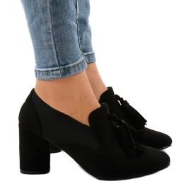 Black suede pumps on the post LL-97P
