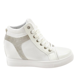 White wedge sneakers with AN2959 sequins