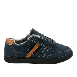 Navy Dark blue men's sneakers with fur E753M-2