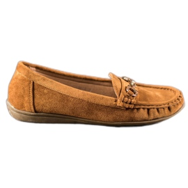 Sixth Sense brown Moccasins With Ornament