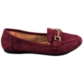Abloom red Suede Lords With Decoration