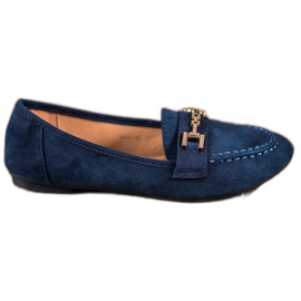 Abloom blue Suede Lords With Decoration